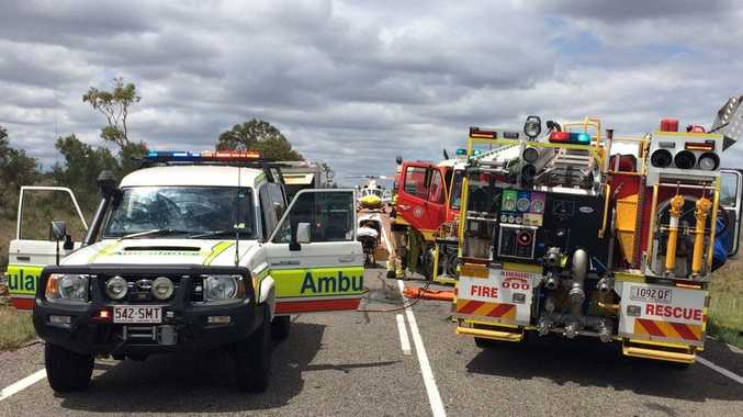 The scene of a two-vehicle crash 40km west of Collinsville
