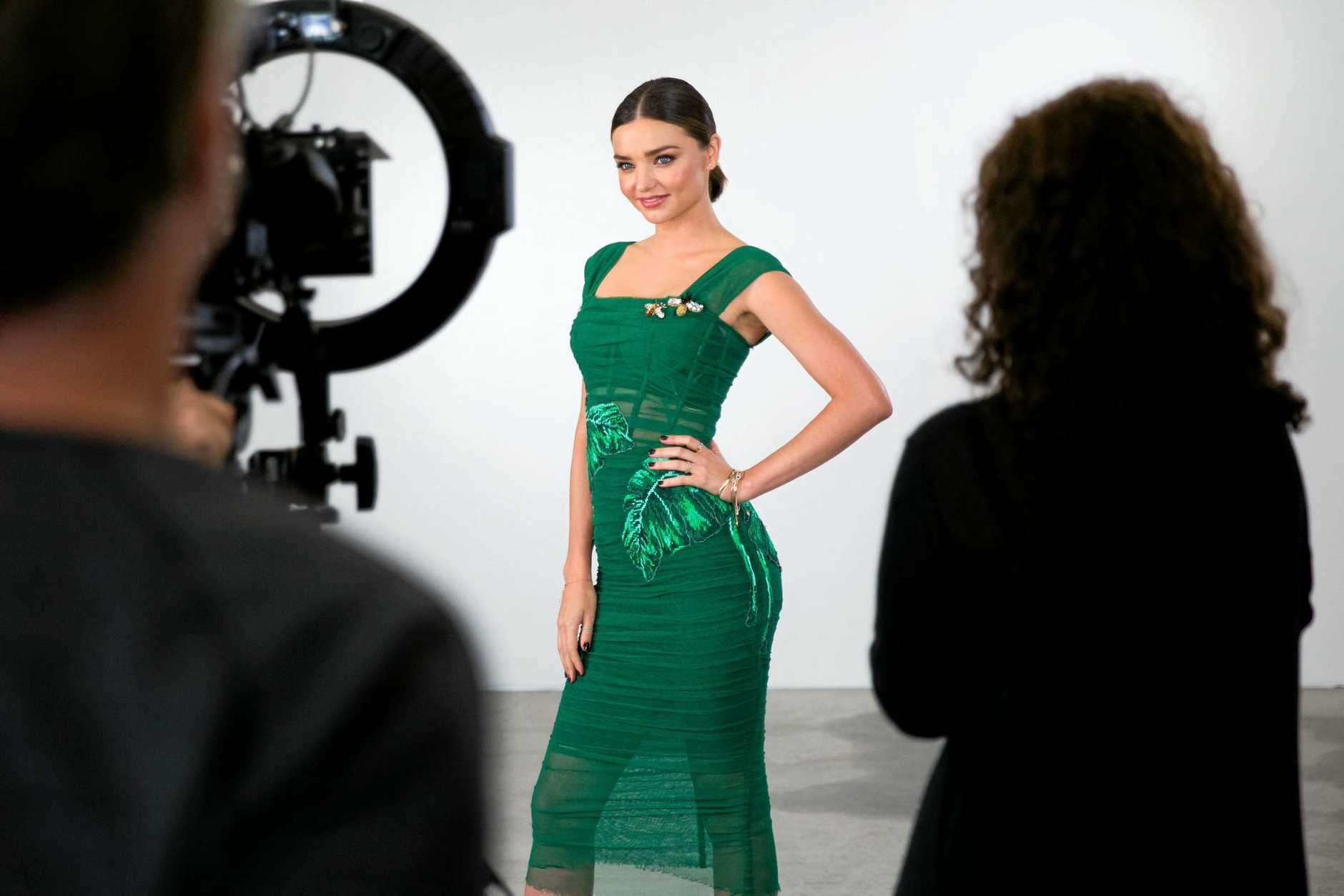 Miranda Kerr pictured on the set of the TV series Australia's Next Top Model.