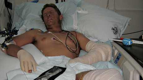 Damien Thomlinson in hospital.