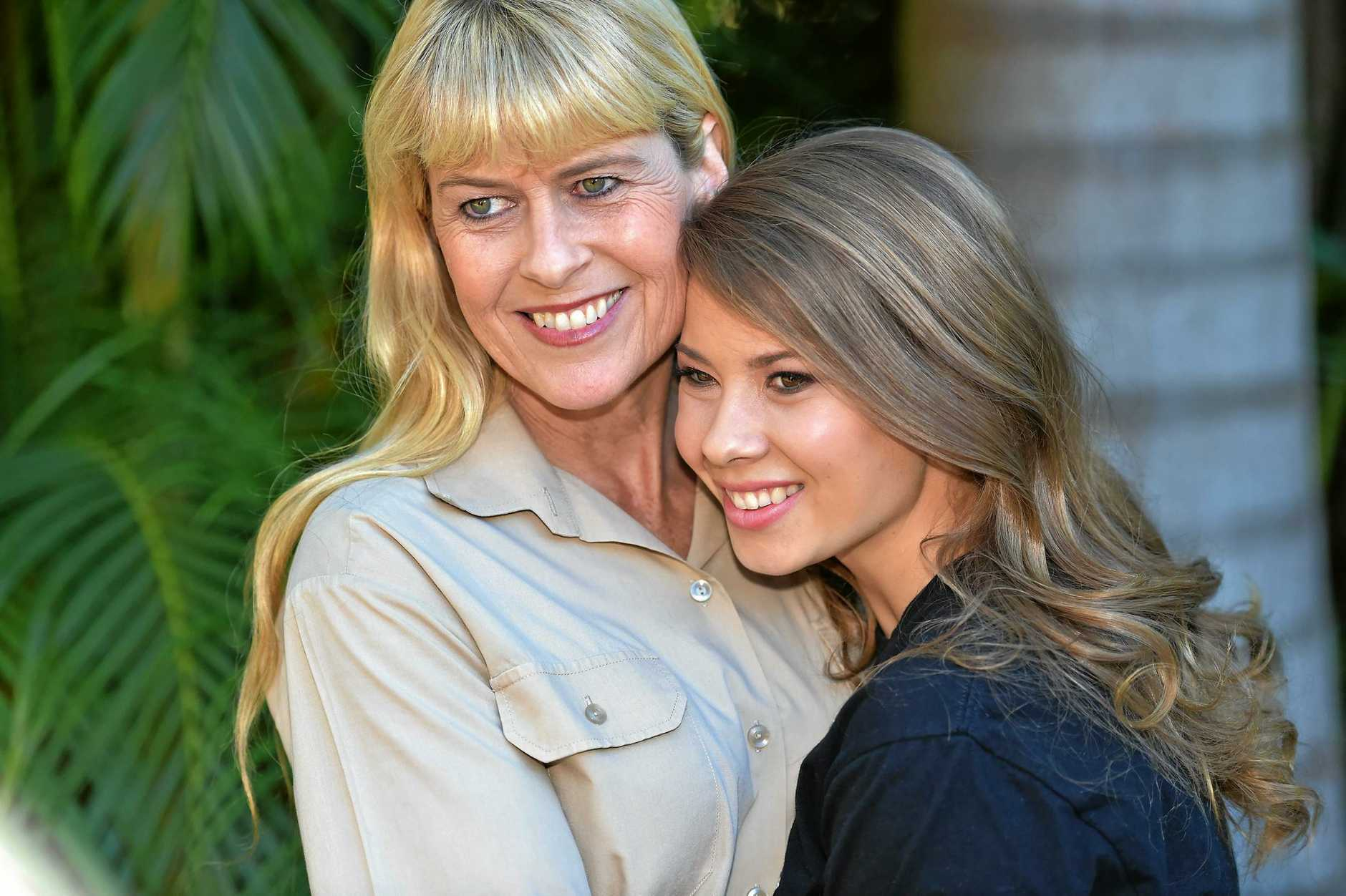 Bindi Irwin celebrates her 18th birthday with family, friends and animals at Australia Zoo.Bindi gets a hug from her mum Terri.