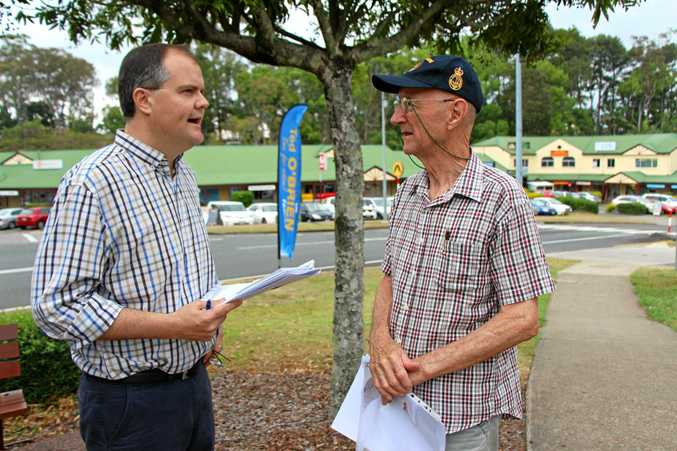 ON THE ROAD: Roger Brading (right) spoke with Mr O'Brien last Tuesday.