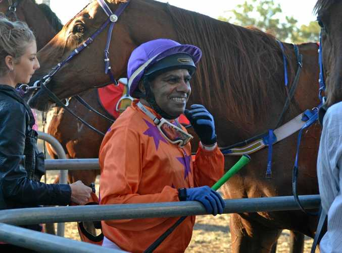 ALL SMILES: Lyall Appo piloted Shockwave home after holding out favourite Metallic Point in the 1212m BM 45 at Bundaberg.