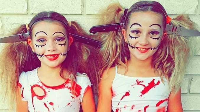 Alarah and Savanah Roberts as zombie dolls