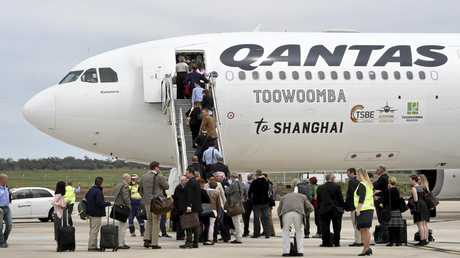 First international passenger flight by Qantas from Brisbane West Wellcamp Airport to Shanghai. October 23, 2016