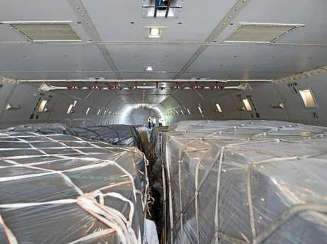 The interior of the Cathay Pacific 747-8 jumbo cargo plane which flew into Wellcamp Airport bound for Hong Kong on November 23, 2015.