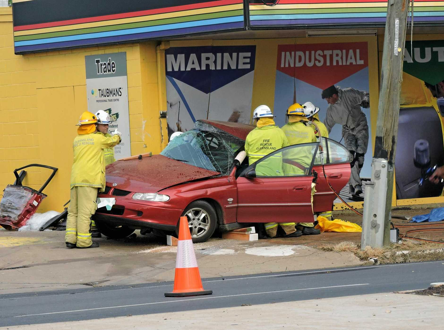 The two vehicle crash on Hospital Rd at 5.50am Friday morning.Photo Karin-Ane King / CQ News