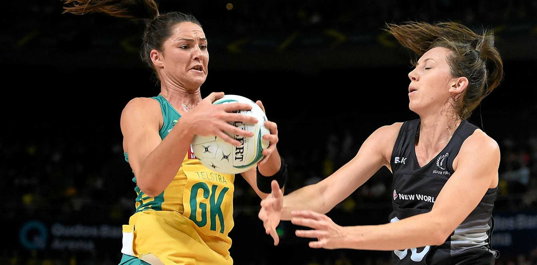 Sharni Layton of the Diamonds competes for the ball with Bailey Mes of the Silver Ferns during the Constellation Cup netball series last month.