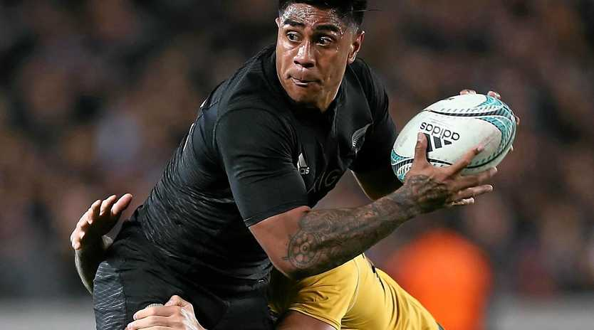 Julian Savea of New Zealand is tackled by Quade Cooper of Australia during their Bledisloe Cup clash last month.
