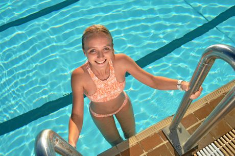 Aimee Bruckner at the Memorial Pool; a great spot to keep cool this week.