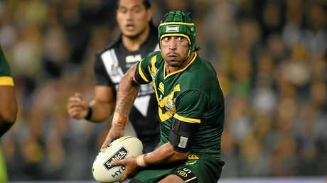 Johnathan Thurston of the Kangaroos looks to pass the ball during the Trans-Tasman Test match between the Australian Kangaroos and the New Zealand.