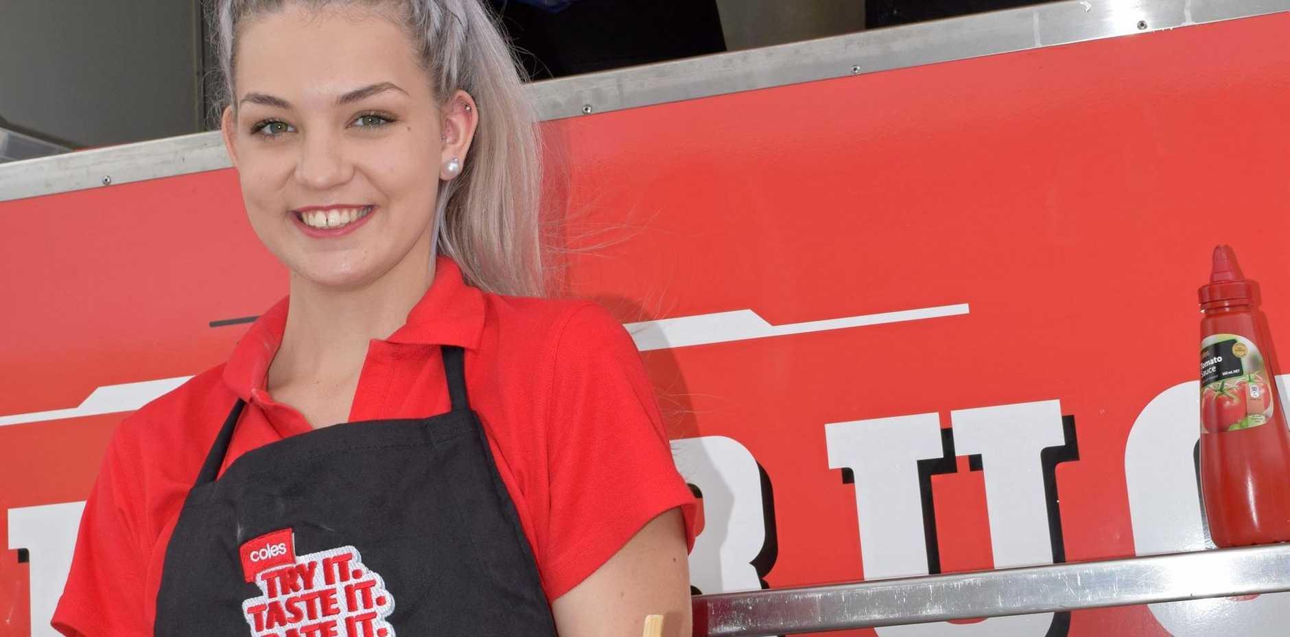 Coles food van giving away free burgers.