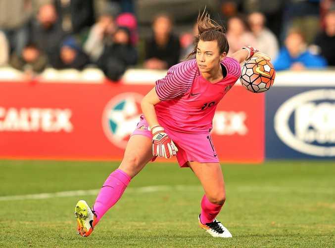 Goalkeeper Mackenzie Arnold throws the ball during a women's international friendly match between the Matildas and the New Zealand Football Ferns.