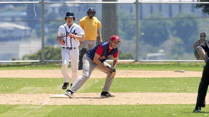 Toowoomba Rangers' Canadian import Ian Horne on first base runs out Choi Hyosung of Hendra All Stars in their Pacific B League game at Commowealth Oval last Sunday.