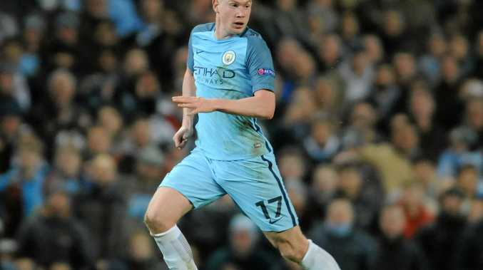Manchester City's Kevin De Bruyne during the Champions League Group C soccer match against Barcelona at the Etihad Stadium.