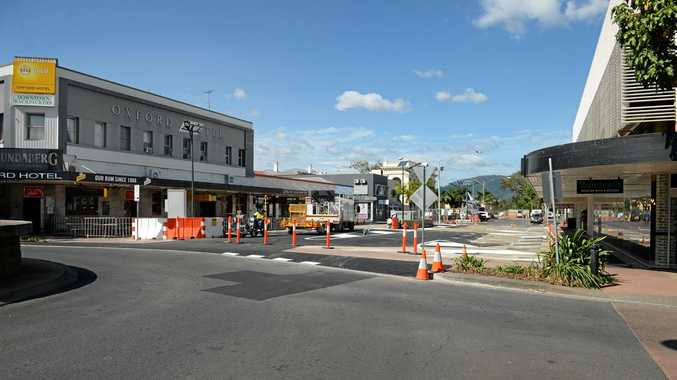 OPEN: A temporary road had replaced the rotunda on Denham Street.