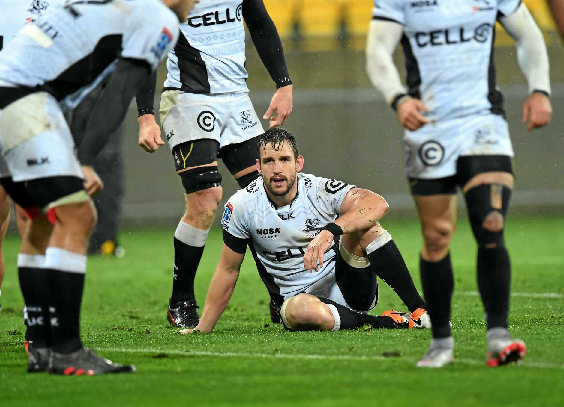 Sharks players after the quarter-final loss to the Hurricanes at Westpac Stadium in July.