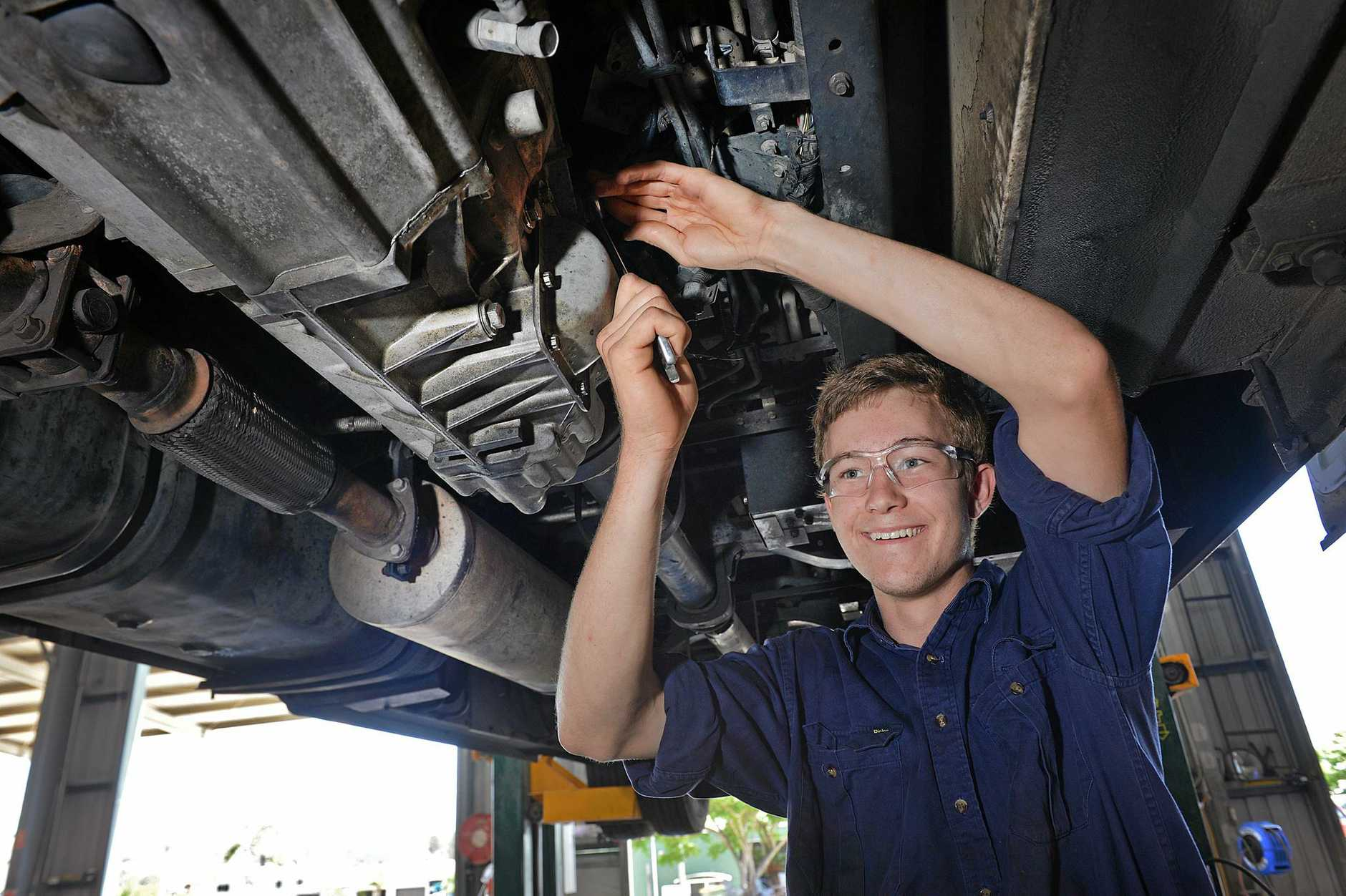 WYNNING WAYS: Brian Wynn says his diesel mechanic apprenticeship has opened up his future, thanks to Polleys Coaches and a school-based start to his training.