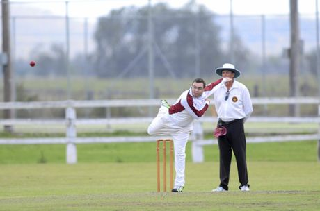 Andrew Kinnane bowling for Brothers in the Clarence River Cricket Association GDSC Premier League match between Brothers and Westlawn at Ulmarra Showground on Saturday, 24th of October, 2015. Photo Bill North / Daily Examiner