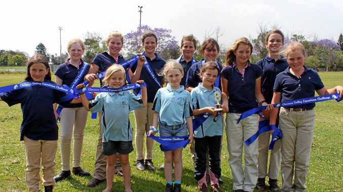 All Saints winning team of the Clarence Valley Equestrian Challenge.  From left back row: Charlotte Hayes, Brooke Surawski, Kate Connors, Fletcher McGrath, Olivia Farrer, Sophie Connors.  From left front row: Sienna Farrer, Rachel Surawski, Ally Hayes, Jackie Surawski, Jessica Newton and Logan Robb  Missing from photo - Logan McGrath, Riley Newton and Matilda Almond.