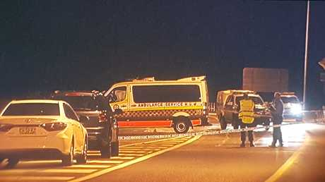 A man has been fatally shot by police, south of Coffs Harbour, this evening after a police pursuit and the stabbing of a woman earlier in the night in Port Macquarie.