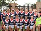 Warwick Cowboys 2015 women's league tag side  after sharing the trophy for the women's round robin with Goondiwindi at Clive Berghofer Stadium.