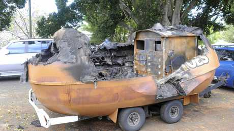 The remains of the baked potato van on Saturday.