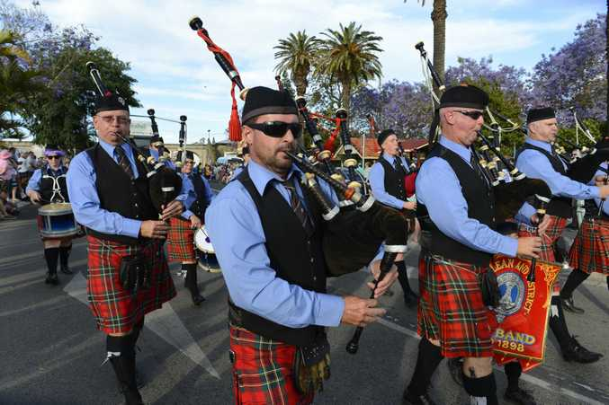 Maclean and District Pipe Band during the 82nd Jacaranda Float Parade down Prince Street Grafton on Saturday, 5th November, 2016.