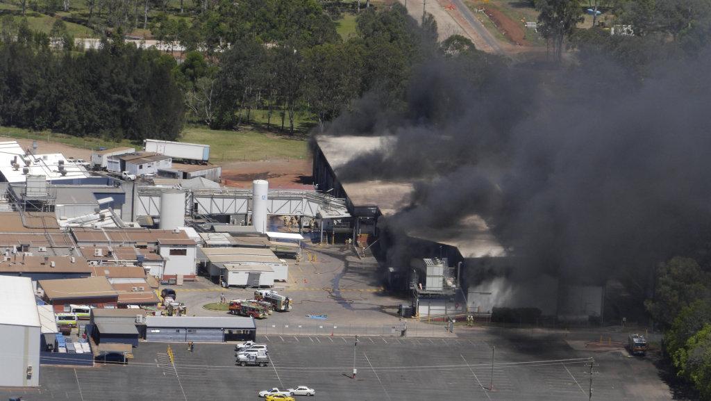 The scene of a fire at Swickers Bacon Factory on Sunday, November 6.