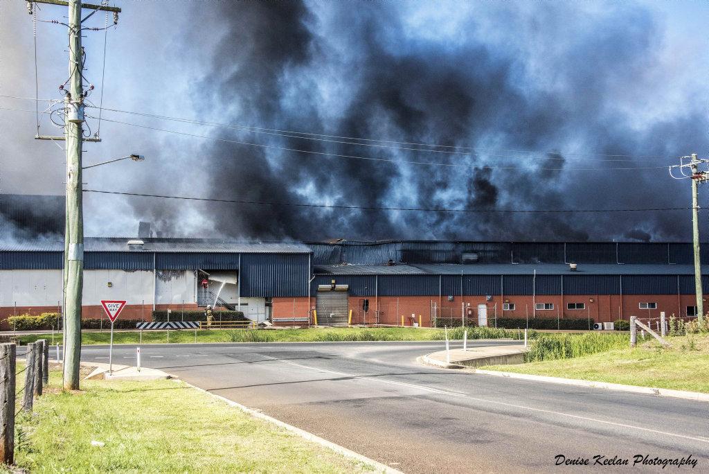 Photo from fire at Swickers Bacon Factory in Kingaroy, November 6, 2016.