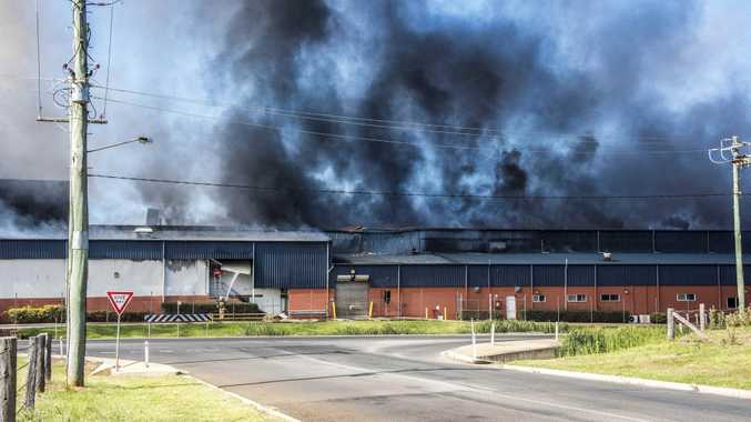 Photo from fire at Swickers Bacon Factory in Kingaroy, November 6, 2016.