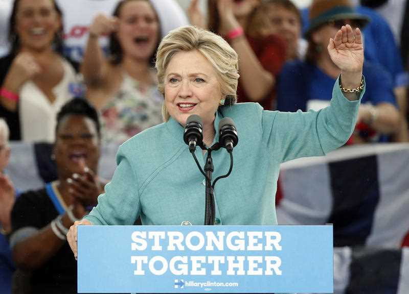 Democratic presidential candidate Hillary Clinton speaks to supporters at a rally, Saturday, Nov. 5, 2016, in Pembroke Pines, Fla.