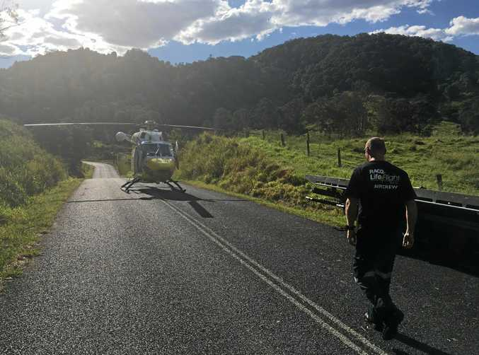 A motorcyclist was flown to Royal Brisbane Hospital in a critical condition after an accident at Kin Kin.