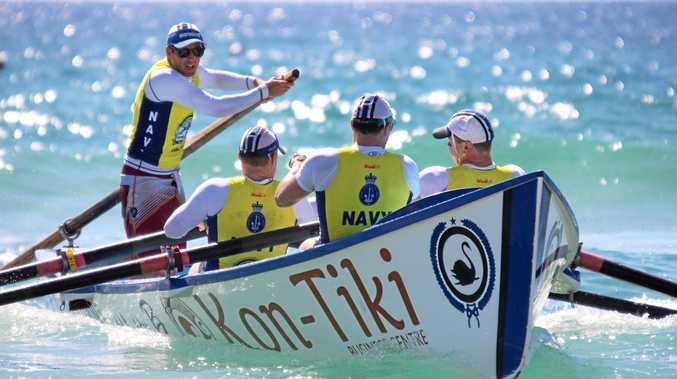 SECOND PLACE: The Maroochydore open men's crew in action in round one.