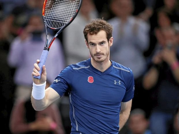 Andy Murray of Britain acknowledges the crowd at the Paris Masters.