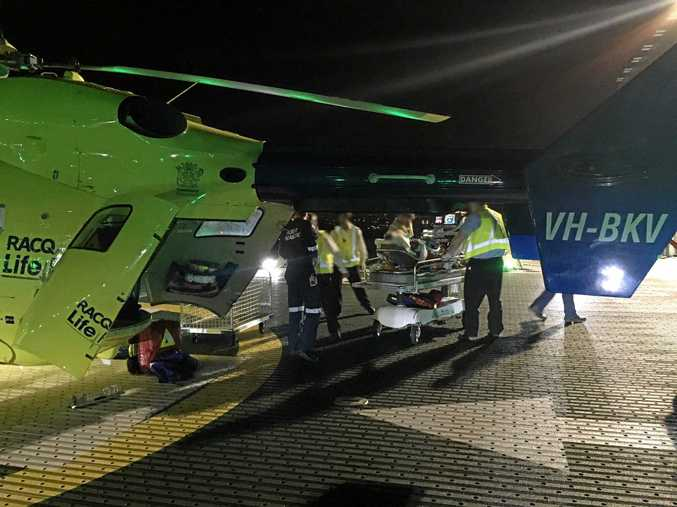 A 13-year-old boy from Maroochydore was picked up at Nambour General Hospital and flown to Lady Cilento Children's Hospital.