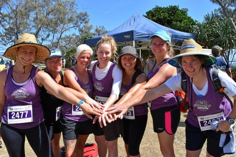 Lennox Head Football Club team players Peta Warburton, Kerran Baker, Meg Robertson, Rachael Thomas, Heidi Sinanovski, Katrina Warren and Thaya Evenden at Byron Bay after completing the Walk 4 Brain Cancer.