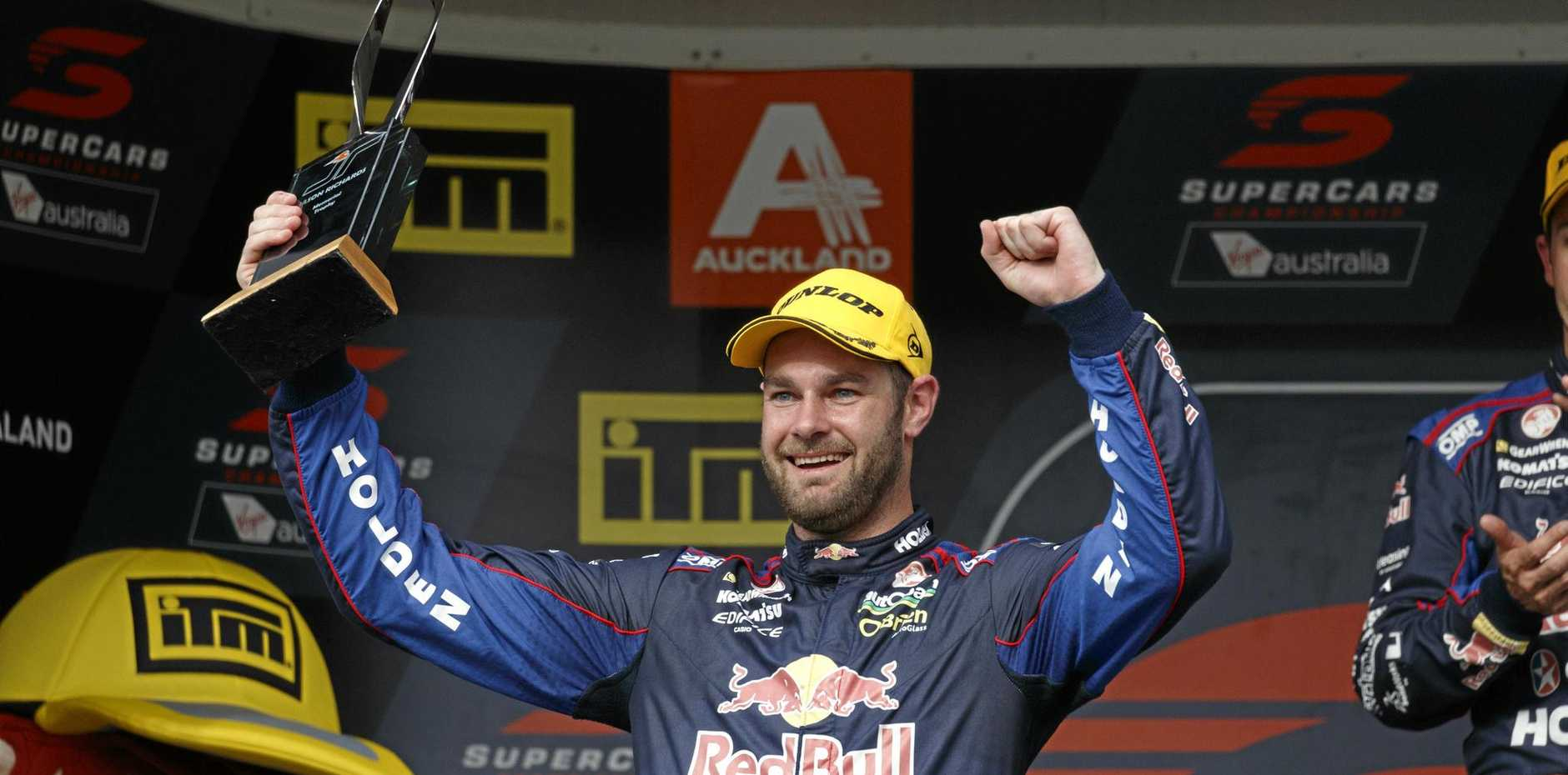 Shane van Gisbergen of Red Bull Racing Australia celebrates at the Auckland SuperSprint at Pukokohe.