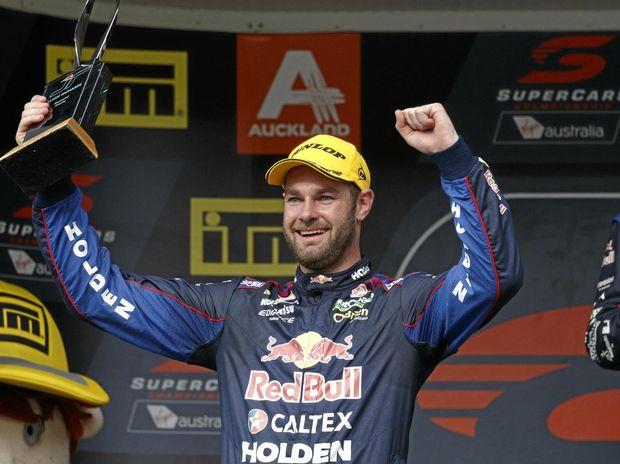 Shane van Gisbergen of Red Bull Racing Australia celebrates at the Auckland SuperSprint at Pukokohe.