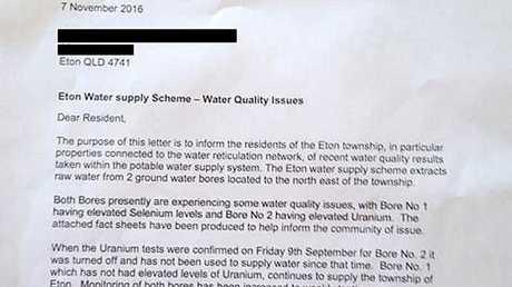 A letter sent to Eton residents states uranium was found on September 9.