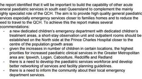 Extract from South East Queensland Paediatric Planning Report
