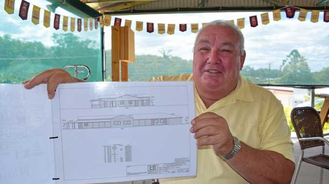Doug Greensill with the designs for the new Kandanga Hotel, which is due to start construction any day now.