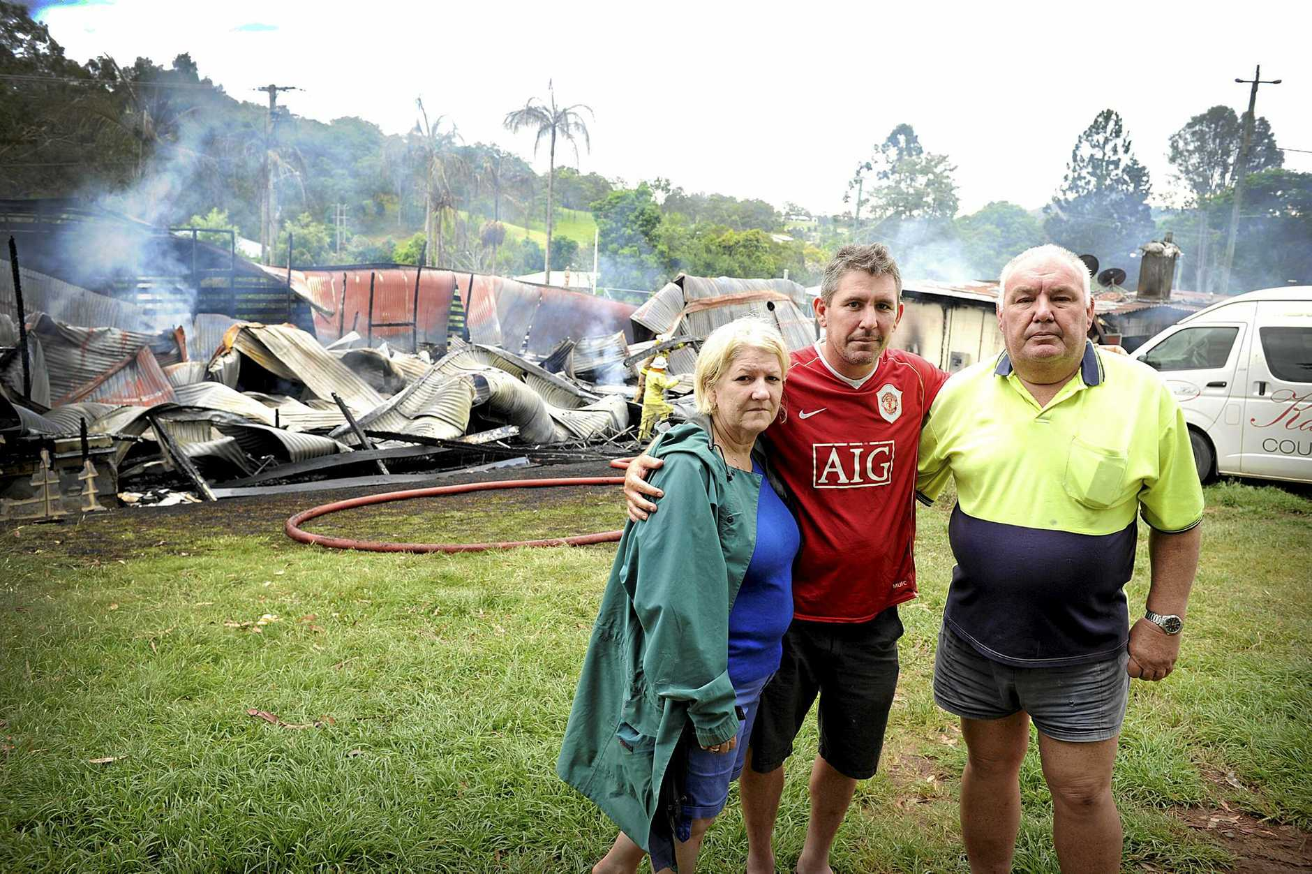 Carolyn, John and Doug Greensill early hours of Saturday morning Kandanga pub burnt down. Renee Albrecht /Gympietimes
