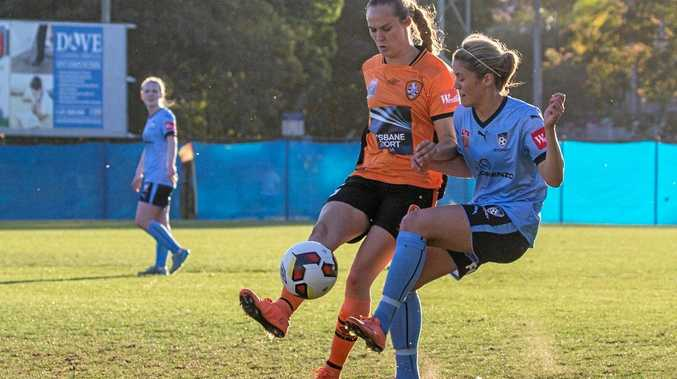 ON THE BALL: Toowoomba's Abbey Lloyd takes to the field for the first time in the colours of the Brisbane Roar.