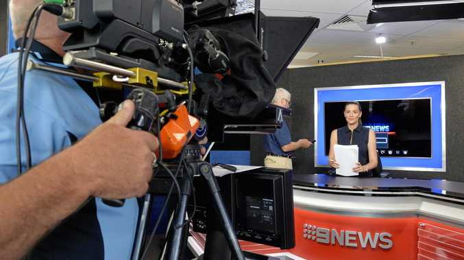 Eva Milic presenting live from the Channel Nine Springfield Bureau. Photo Inga Williams / The Queensland Times