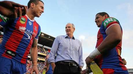 Once were Knights ... coach Wayne Bennett with Darius Boyd and Dane Gagai in 2013.