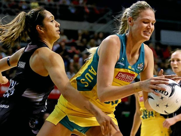 Caitlin Bassett, right, will be one of the stars of the newly named Super Netball competition.