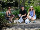 CLEAN TEAM: On a mission the keep their suburbs and waterways clean from litter are (from left) Jill Bauer with her dog Maggie, Julie McDonald and Luise Manning at Springfield Lakes.