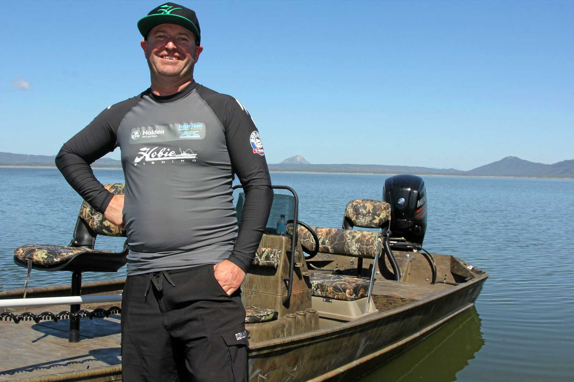 TOP ANGLER: Mark Crompton of team Hobie at Lake Proserpine on Monday.