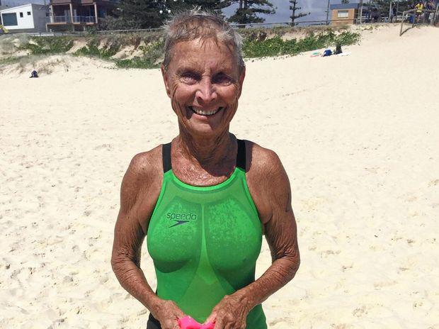 WINNER: Jan Croft won the 70-75 years ocean swim on the Gold Coast yesterday.