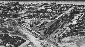 (For 1948) An aerial view of the Rockhampton rail yards c1950. Photo courtesy The Archer Park Railway Museum.